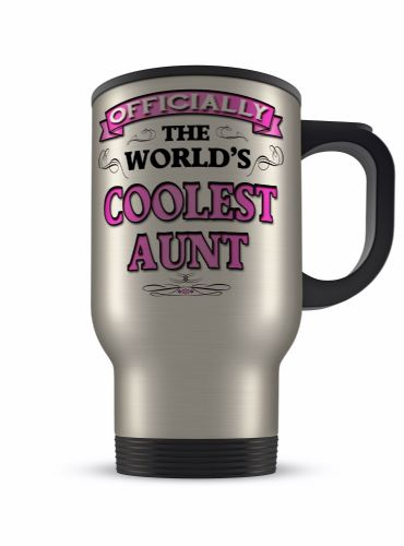 14oz Officially The Worlds Coolest Novelty Aluminium Travel Mug - Pink
